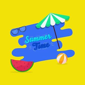 Sommerzeitschrift mit regenschirm, brille, wassermelonenscheibe, wasserball auf blauem und gelbem hintergrund.
