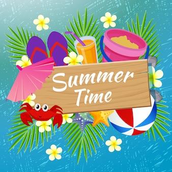 Sommerzeitstrandspaß mit kratzerillustration