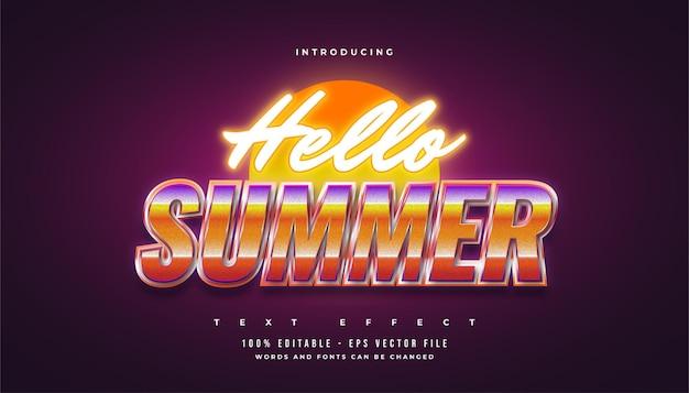Sommerzeittext im bunten retro-stil und im leuchtenden neon-effekt
