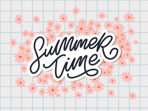 Sommerzeittext mit blumenbuchstaben