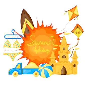 Sommerzeitvektor-fahnendesign und bunte strandelemente. vektor-illustration