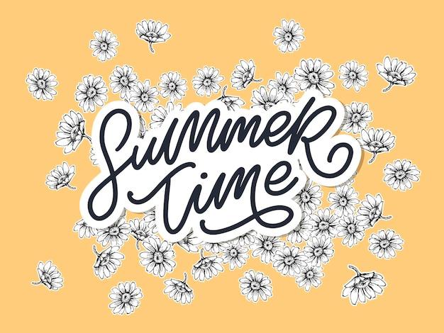 Sommerzeitverkaufsfahne mit blumen