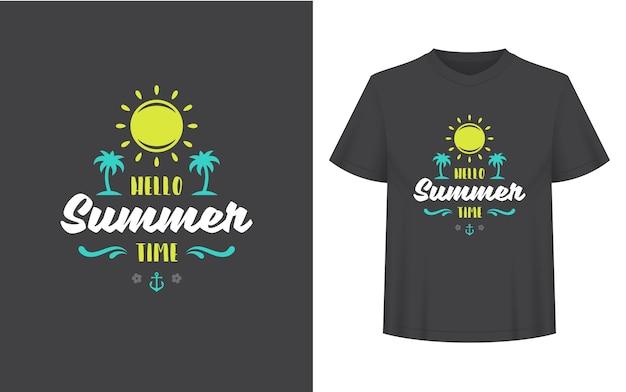 Sommerzitat oder spruch kann für t-shirts, tassen, grußkarten, foto-overlays, dekordrucke und poster verwendet werden. hallo sommer-vibes-nachricht, vektorillustration. Premium Vektoren