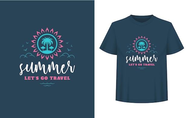 Sommerzitat oder spruch kann für t-shirts, tassen, grußkarten, foto-overlays, dekordrucke und poster verwendet werden. sommer lässt reisenachricht, vektorillustration gehen.