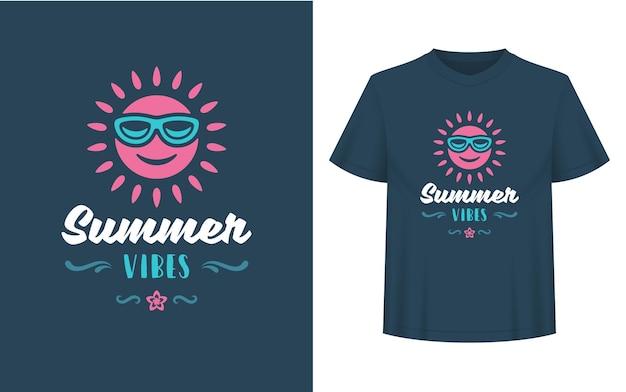 Sommerzitat oder spruch kann für t-shirts, tassen, grußkarten, foto-overlays, dekordrucke und poster verwendet werden. sommer-vibes-nachricht und sonne-vektor-illustration.