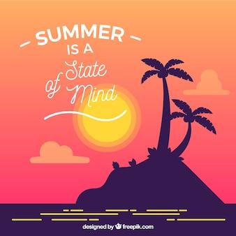 Sommerzitathintergrund mit schattenbild der palme auf insel