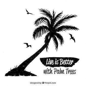 Sommerzitathintergrund mit schwarzer palme
