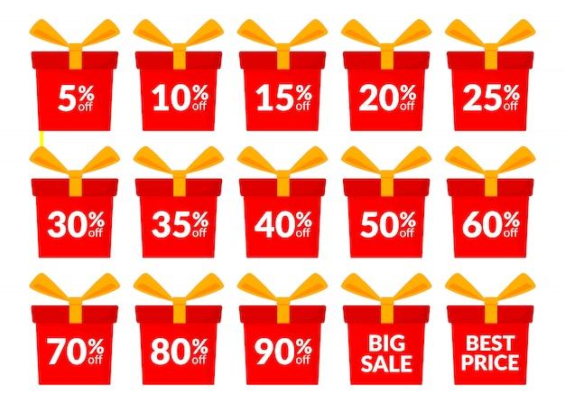 Sonderangebot. set rote geschenkboxen, rabatt angebotspreis.