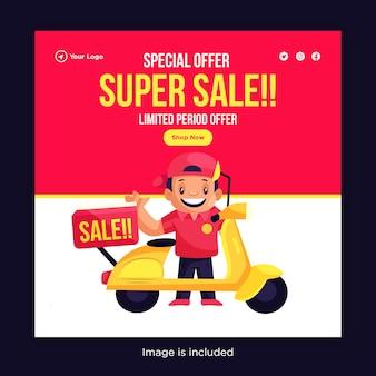 Sonderangebot super sale banner design mit lieferjunge für die lieferung gehen