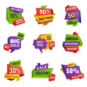 Sonderangebot-tags. rabatt anzeigen banner bestseller werbetext farbige aufkleber und etiketten vektor abzeichen sammlung. sonderwerbung und werbemarketing