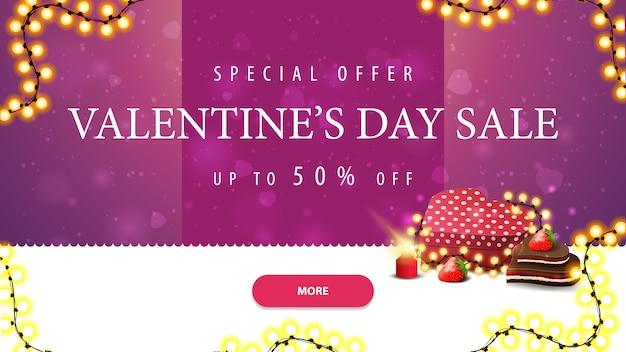 Sonderangebot, valentinstag-verkauf, bis zu 50% rabatt, rosa und weiße rabatt-banner mit knopf
