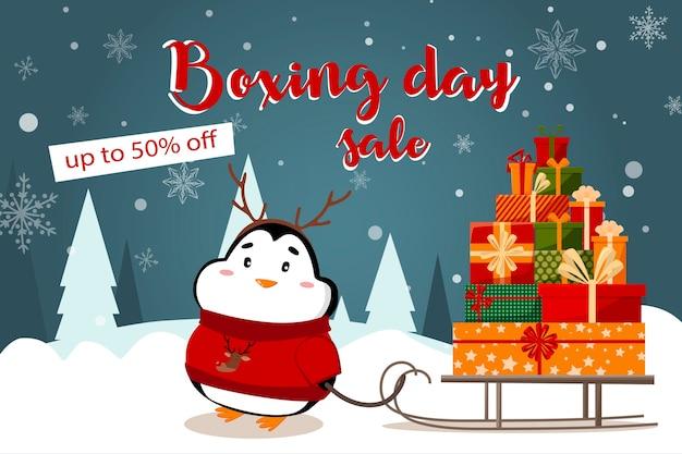 Sonderangebot weihnachtsverkauf schönen rabatt flyer mit weihnachtsmann und hirsch