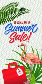 Sonderangebotbeschriftung des sommerschlussverkaufs mit einkaufstasche. sommerangebot oder verkaufswerbung