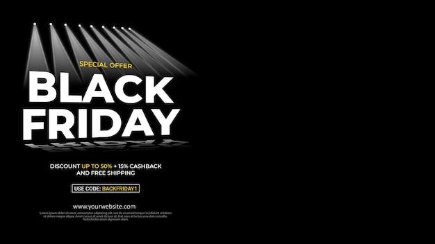 Sonderangebotsbanner für den schwarzen freitag mit dunklem hintergrund
