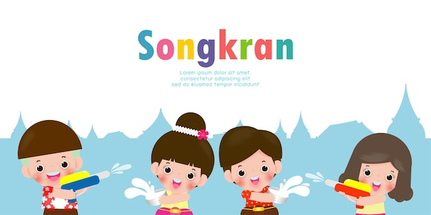 Songkran festival banner mit kindern, die wasserpistole halten