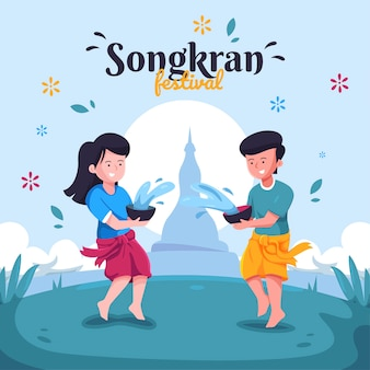 Songkran festival in flachem design