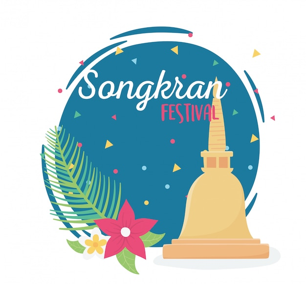 Songkran festival pagode thai platz blumen