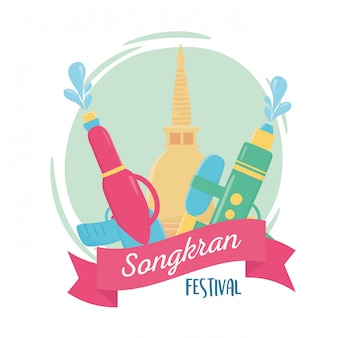 Songkran festival plastikwasserpistolen pagode thai feier