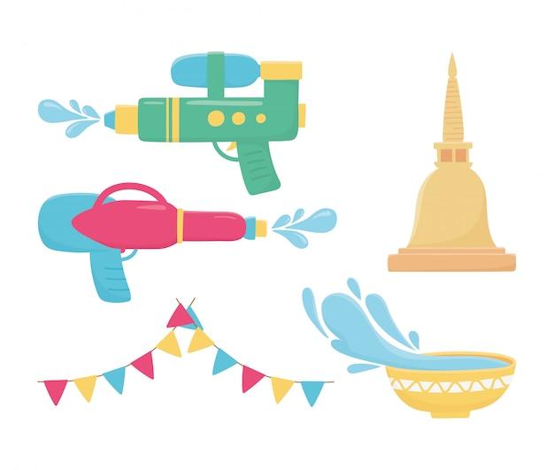 Songkran festival plastikwasserpistolen schüssel thailand ikonen
