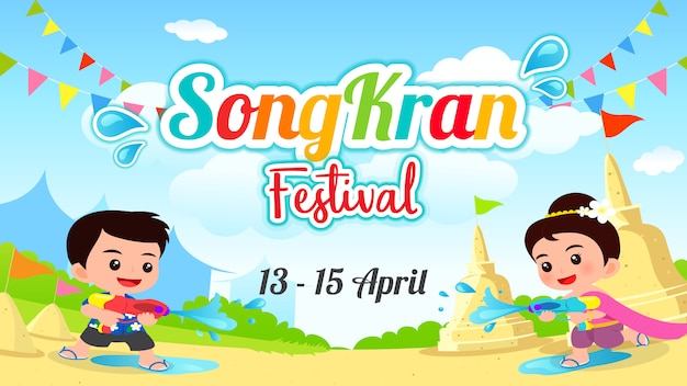 Songkran festival-vektor-illustration