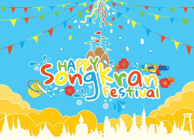 Songkran-festival von thailand-designhintergrund