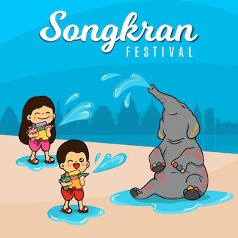 Songkran festivalzeichnung