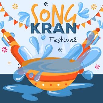 Songkran-konzept im flachen design