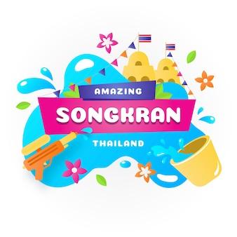 Songkran-schriftzug auf wasserspritzer
