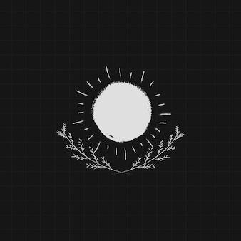 Sonne auf schwarzem hintergrund