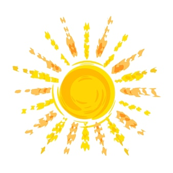 Sonne bleistiftzeichnung logo vorlage für reisebüro sonnenkreis mit strahlen isoliert auf weiß