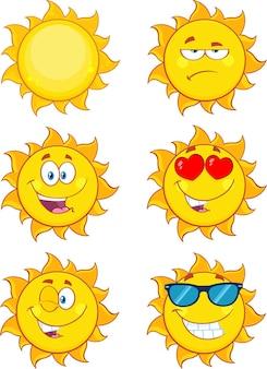 Sonne cartoon maskottchen zeichen set sammlung isoliert auf weiss character