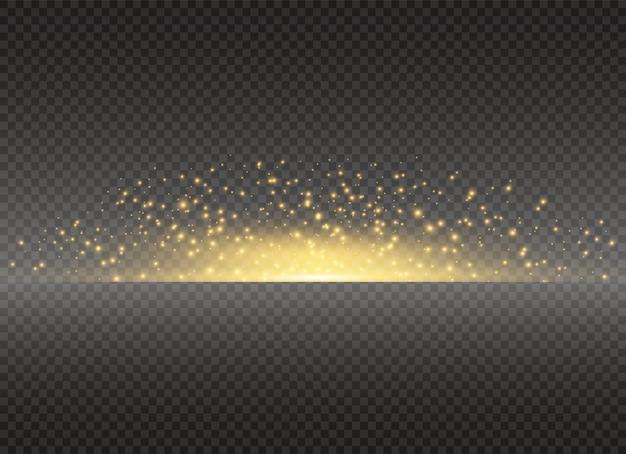 Sonne, heller blitz. gelb leuchtendes licht explodiert. funkelnde staubpartikel.