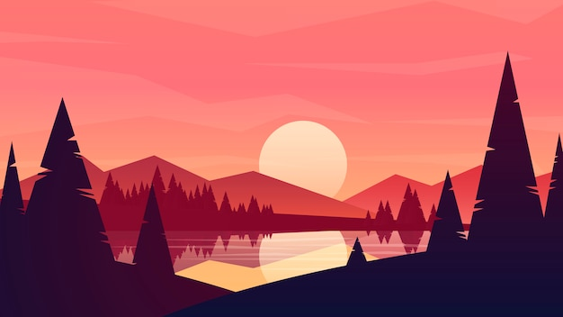Sonne in den bergen, landschaftsillustrationspanoramablick der berglandschaft im tal