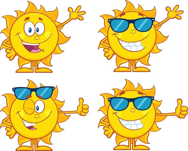 Sonne-karikatur-maskottchen-zeichensatz-sammlung lokalisiert auf weiß