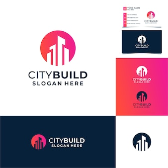 Sonne, kreis mit gebäude-logo-design, stadt, immobilien, architektur mit visitenkartenschablone