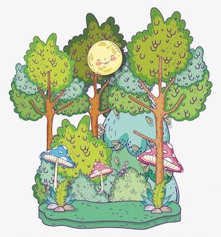 Sonne mit natürlichen bäumen und sträuchern