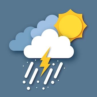 Sonne mit regenwolke und blitz. papierschnitt wetter. sturmzeit. regen fällt in den dunklen himmel und donner.