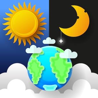 Sonne, mond und sterne. tag und nacht-vektor-banner isoliert.