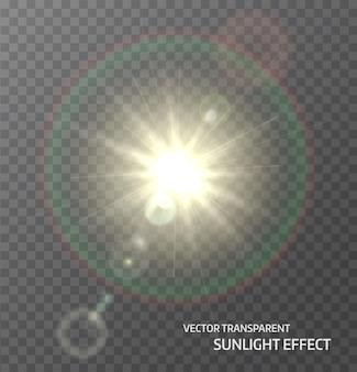Sonne, sonnenlicht mit strahlen und linseneffektlichtern. glühlichteffekt. illustration