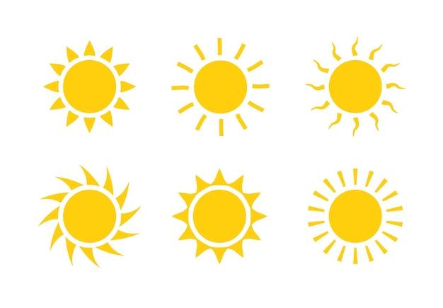 Sonne symbol symbol abbildung, sonnenlicht design wetter. flacher sonnenschein isolierter satz sonnenlogo.