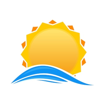 Sonne über dem meer. sonnenaufgang-logo-symbol. karikatursonne über meereswellen. abbildung isoliert auf weißem hintergrund
