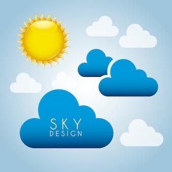 Sonne und himmel design hintergrund vektor-illustration