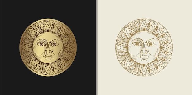 Sonne und mond, die zwei gesichter mit gravur haben Premium Vektoren