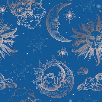 Sonne und mond-weinlese-nahtloses muster. hintergrund im orientalischen stil mit sternen und himmlischen astrologischen symbolen für stoff, tapete, dekoration. vektor-illustration
