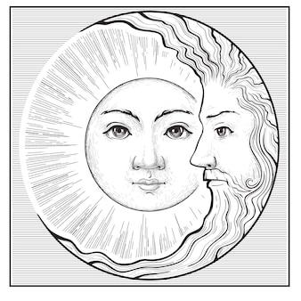Sonne und mondsichel mit gesichtesoterisches symbolastrologiezeichen mit menschlichem gesicht