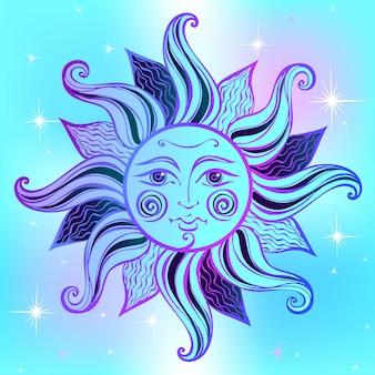Sonne. vintage-stil. astrologie. ethnisch. heide. boho-stil.