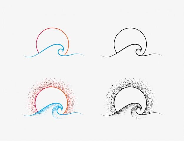 Sonnen- und ozeanwellenlogo oder -ikonentwurf in den farbigen und schwarzen versionen. sommerzeiturlaub oder surfen minimalistisches dünnes liniensymbol lokalisiert auf weißem hintergrund. illustration