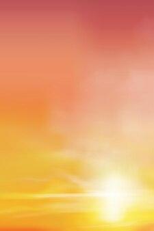 Sonnenaufgang am morgen mit orangefarbenem, gelbem und rosa himmel.