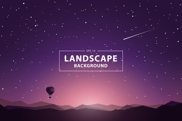 Sonnenaufgang mit blick auf die berge und heißluftballon