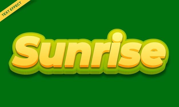 Sonnenaufgang texteffekt-design-vektor